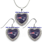 New England Patriots 925 Necklace / Earrings or Set Team Heart With Rhinestones $14.99 USD on eBay
