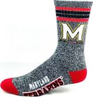 Maryland Terrapins NCAA Four Stripe Heather Gray Quarter Socks Red Heel & Toe