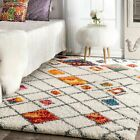 nuLOOM Bohemian Abstract Plush Shag Area Rug in Ivory, Grey, Multi