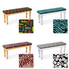 NEW WHITE OR NATURAL FINISH WOOD DINING KITCHEN BENCH WITH THEMED SEAT CUSHION