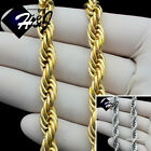 "17""20""24""30""MEN Stainless Steel 8mm Gold/Silver Smooth Rope Chain Necklace*N149"