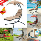 Swing Hammock Helicopter Hanging Chaise Lounger Chair Seat Sun Outdoor + Cushion
