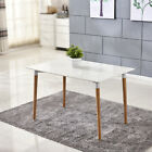 Modern White Dining Table and 4 Chairs Set Solid Wood Legs Home Office Furniture
