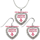 Houston Rockets 925 Necklace / Earrings or Set Team Heart With Rhinestones on eBay