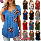 UK Womens Casual Short Sleeve Shirt Blouse Ladies Loose T-shirt Tops Plus Size