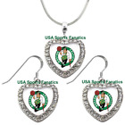 Boston Celtics 925 Necklace / Earrings or Set Team Heart With Rhinestones on eBay