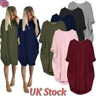 Uk Plus Size Womens Casual Shirt Mini Dress Ladies Long Sleeve Loose Tops 8 - 26