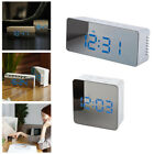 Multifunction Digital LCD Display LED Mirror Clock Alarm w/ Temperature Snooze