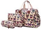 Beige Butterfly 4 Piece Set Maternity Baby Nappy Changing Bag/Mat Womens Ladies
