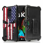 For LG Spree / Op Zone 3 / K4 Armor Belt Clip Case Punisher US Flag Skull