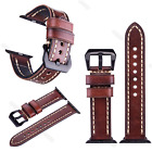 Brown Genuine Leather Wrist Band Men's Watch Strap For Apple Watch Series 3 2 1