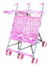 Twin umbrella stroller, side by side 6 x 12 wheel with net bag at handle