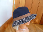 MONSOON ACCESSORIZE COTTON PATTERNED NAVY BEIGE BROWN TRILBY HAT ONE SIZE