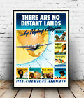 No distand lands : Vintage air travel , poster, Wall art, reproduction.