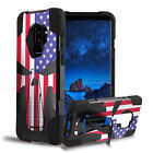 For Moto E5 Play / E5 Cruise Hybrid Shell Armor Kickstand Punisher Skull Case