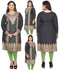 UK STOCK - PLUS SIZE - Women Black Kurti Tunic Kurta Top Shirt Dress eplus107B