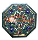 Marble Marquetry Top Coffee Table Gems Inlay Ramzan Exclusive Patio Decor H2494