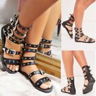 Ladies Womens Flat Sandals Buckle Strappy Cut Out Studded Gladiator Summer Shoes