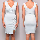 New Ladies Womens Lipsy Dress Bodycon Eyelet Fitted v Neck Party Mini Size 6-14