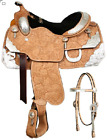 """16"""", 17"""" Showman Floral Tooled Silver Show Saddle Package"""