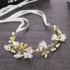 Women Flower Headband With Ribbon Wreath Wedding Garlands Floral Crown Hairband