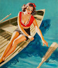 Vintage Pin Up Girls In Rowing Boat Retro Picture Poster Print Art A3 A4