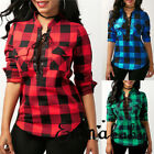 US Womens Plaid Casual Tops Shirt Loose Fashion Blouse Clothes Plus Size T-Shirt
