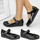 Womens Girls Black Flat Back To School Shoes Rubber Grip Sole Smart Casual Size