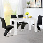 High Gloss Solid Wood Dining Table and Chairs Set Dining Room Kitchen 4/6 Seater