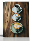 Espresso Coffee Latte Cups Table Food Art Print - Canvas Stretched Framed