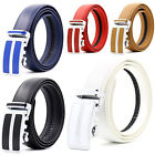 Mens Genuine Leather Automatic Buckle Ratchet Business Golf Dress Belt