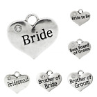 Wedding and Baby heart charms 16 - 17mm x 14mm antique silver rhodium x Qty 4