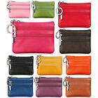 Women's Coin Purse Genuine Leather 3 Zipper Pockets Key Ring Mini Pouch Wallet