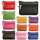 Women's Genuine Leather 2 Zipper Pockets Key Ring Coin Purse Mini Pouch Wallet image