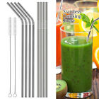 FDA-Approved Extra Long 10.5'' Stainless Steel Drinking Straws,Reusable Metal