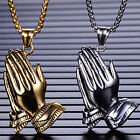 Men's Stainless Steel Large Praying Hands Pendant Necklace