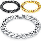 Men's Stainless Steel 10mm Wide Curb Chain Bracelet, 7 to 8.5 Inches Length