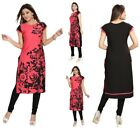 UK STOCK - WOMEN PINK FAUK CREPE INDIAN KURTA KURTI TUNIC TOP SHIRT SC2409