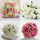 18 Heads Artificial Rose Bouquet Fake Silk Flowers Garland Wedding Home Decor