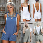 UK 6-14 Womens Short Cotton Dungarees Casual Backless Tie Jumpsuits Playsuits