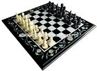 Marble Custom Chess Side Table Top Mosaic Inlay Fine Work Interior Decor H4515