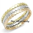 HCJ 3 TONE SILVER, ROSE GOLD & GOLD STAINLESS STEEL RING SET SIZE 6