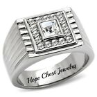 HCJ Silver Stainless Steel Princess Cut Solitaire Men's Crystal Ring Size 8 - 13