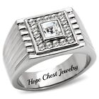 HCJ Silver Stainless Steel Princess Cut Solitaire Men's Crystal Ring Size 11, 12