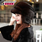 Genuine mink fur middle-aged winter warm hat for fashion men and women