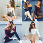 Women's Ladies Sexy Knitted Jumper Slim Off Shoulder Knitwear Pullover Cami Tops