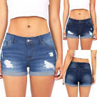 Ladies Women Low Waisted Washed Ripped Hole Short Mini Jeans Denim Pants Shorts