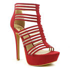 Women's Ruby Red Open Toe Strappy Stiletto Platform High Heel Sandals Size 8