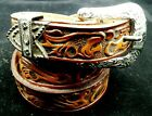 Brown BELT 2-tone Genuine LEATHER 1-inch FLORAL with Silver Buckle Set Western
