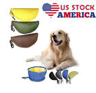 Portable Travel Pet Dog Cat Drinking Bowl Food Water Fold Up Fabric Folding DS